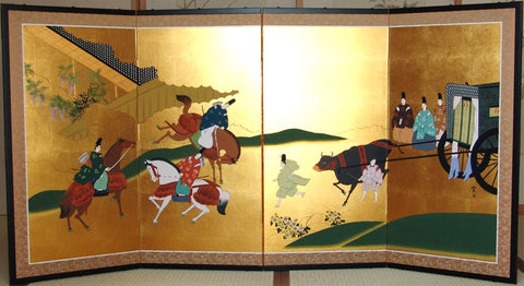 Murata Yuin - Japanese Traditional Hand Paint Byobu (Gold Leaf Folding Screen) - X167 - Free Shipping