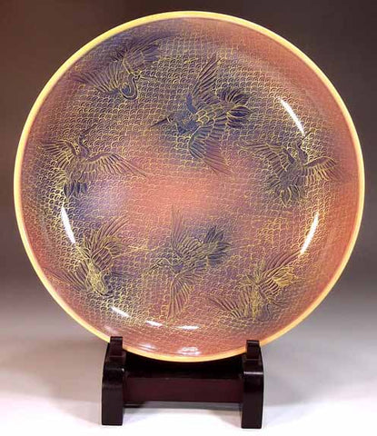 Copy of Fujii Kinsai Arita Japan - Yurisai Kinran Crane Ornamental plate 27.70 cm (Superlative Collection) - Free Shipping