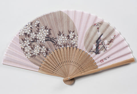 Traditional handcrafted Kyoto Ladies' Sensu - Ito Jakuchu - Sakura & Plum - Pink