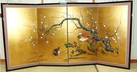 Japanese Traditional Hand Paint Byobu (Gold Leaf Folding Screen) - T 24 - Free Shipping