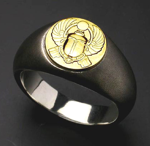 Saito - Egyptian motif  KHWPRI - Scarab - God of rebirth & the sunrise 18Kt emblem Amulet Silver Ring - Free Shipping