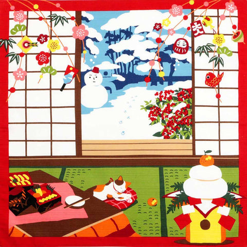 Mikeneko Mike - January Furoshiki (Japanese Wrapping Cloth)
