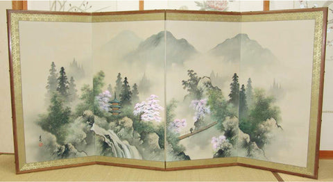Japanese Traditional Hand Paint Byobu (Silk Folding Screen) - T 11 - Free Shipping