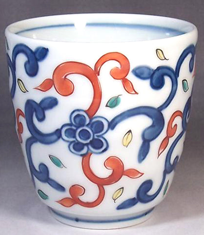 Fujii Kinsai Arita Japan - Somenishiki Karakusa Monyo Japanese Tea Cup  (Yunomi) - Free shipping