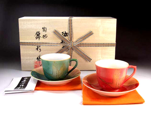 Fujii Kinsai Arita Japan - Shinshayu Kinsai Mt.Fuji & Crane Cup & Saucer, One pair Set - Free Shipping