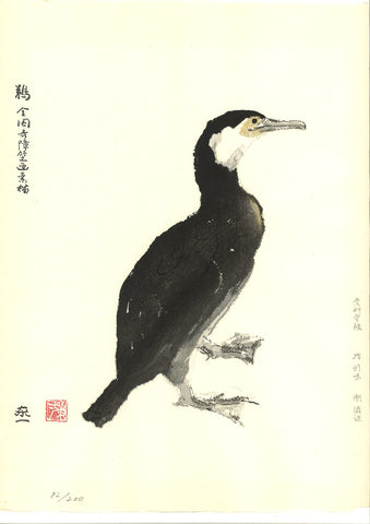 Kato Toichi - Cormorant - Japanese traditional woodblock print  Limited Edition - Free Shipping