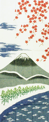 Wafuka -  Haru No Fuji san (Spring Mount Fuji)  (Golden thread dyed Tenugui) - For display only