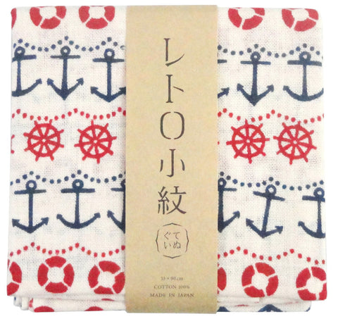 Retro Komon - Minato no aru machi (Port) ( (The dyed Tenugui)