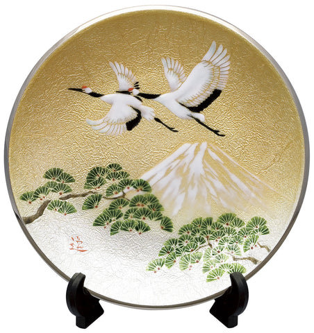 Saikosha - #005-12 Pair of crane and Pine (Cloisonné ware ornamental plate) 27.00 cm - Free Shipping