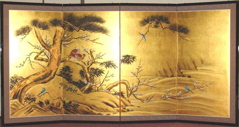 Tominaga Jyuho - Japanese Traditional Hand Paint Byobu (Gold Leaf Folding Screen) - X105 - Free Shipping