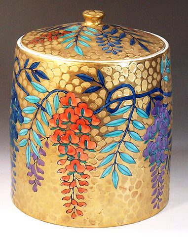 Fujii Kinsai Arita Japan - Somenishiki Golden Wisteria mizusashi for Tea ceremony - Free Shipping
