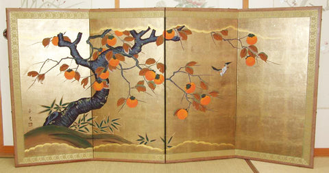 Japanese Traditional Hand Paint Byobu (Gold Leaf Folding Screen) - T1 - Free Shipping