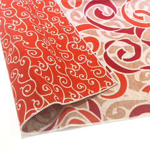 AtarashikiInishie -  Double-Sided Dyeing - Karakusa Red - Furoshiki (Japanese Wrapping Cloth)