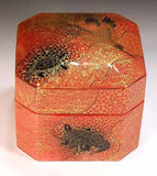 Fujii Kinsai Arita Japan - Yurisai Kinran  Porcelain box Crane and turtle (Superlative Collection) - Free Shipping