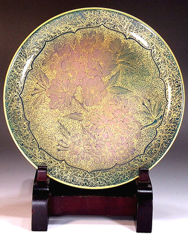 Fujii Kinsai Arita Japan - Yurisai Kinran Sakura Ornamental plate 19.00 cm (Superlative Collection) - Free Shipping