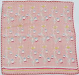 Takehisa Yumeji - The bird & flower Pink - Gauze Towel (Handkerchief)