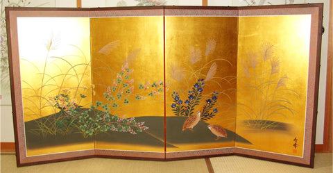 Japanese Traditional Hand Paint Byobu (Gold Leaf Folding Screen) - T 30 - Free Shipping