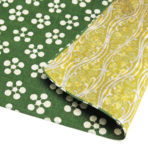 Fukumusubi -  Double-Sided Dyeing - Plum  Green/Yellow - Furoshiki (Japanese Wrapping Cloth)