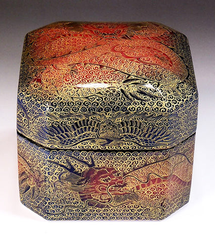 Fujii Kinsai Arita Japan - Yurisai Kinran  Porcelain box Rise dragon & Phoenix (Superlative Collection) - Free Shipping