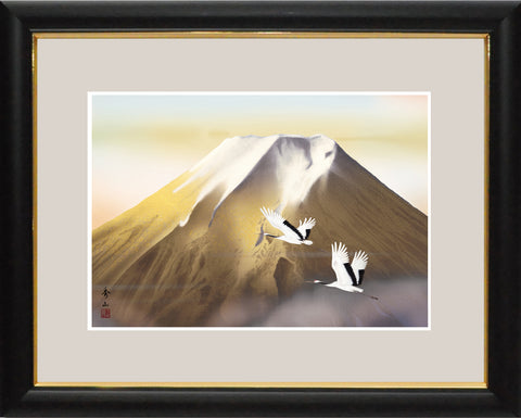 Sankoh Framed Mt. Fuji - G4-BF015L - Ogon Fuji (Golden Mt. Fuji & pair of cranes)