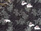 Yu-Soku - Tsukimi Usagi (Viewing the moon Rabbit) (Black) - Furoshiki 50 x 50 cm