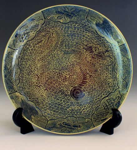 Fujii Kinsai Arita Japan - Yurisai Kinran Rise Dragon Ornamental plate 19.00 cm #2 (Superlative Collection) - Free Shipping