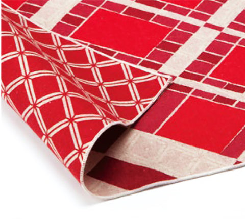 AtarashikiInishie -  Double-Sided Dyeing - Ichimatsu Red - Furoshiki (Japanese Wrapping Cloth)