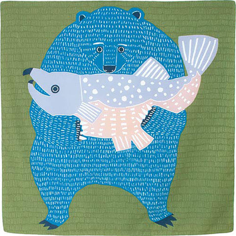 Kata Kata - Water repellent finish - Bear and Salmon - Furoshiki   100 x 100 cm