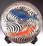 Fujii Kinsai Arita Japan - Somenishiki Platinum Carp Ornamental plate 19.80 cm  - Free Shipping