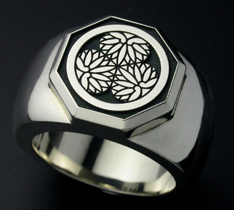 Saito - Family Crest Type - Octagon Ring Silver 925 - Free Shipping