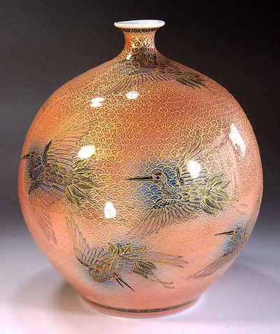 Fujii Kinsai Arita Japan - Yurisai Kinran Crane Ornamental vase 19.00 cm (Superlative Collection) - Free Shipping