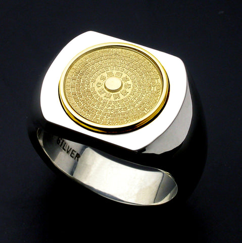 Saito - Heart Sutra 18Kt gold emblem Seal Stand Silver Ring  - Free Shipping