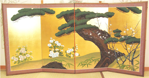 Japanese Traditional Hand Paint Byobu (Gold Leaf Folding Screen) - T 6 - Free Shipping