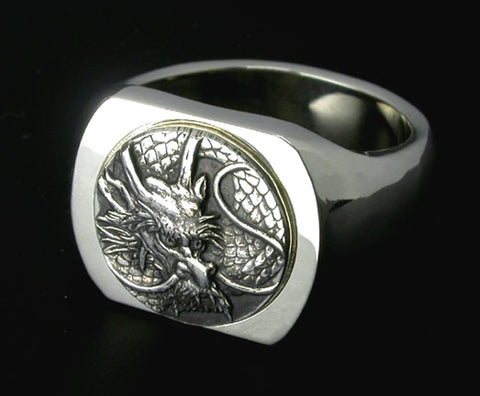 Saito - Dragon Crest Emblem(Silver 950) on Seal Stand Silver Ring - Free Shipping