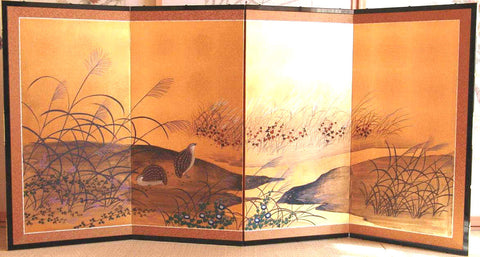 Tominaga Jyuho - Japanese Traditional Hand Paint Byobu (Gold Leaf Folding Screen) - X117 - Free Shipping