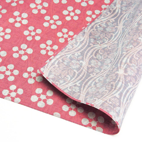 Fukumusubi -  Double-Sided Dyeing - Plum  Pink/Gray - Furoshiki (Japanese Wrapping Cloth)