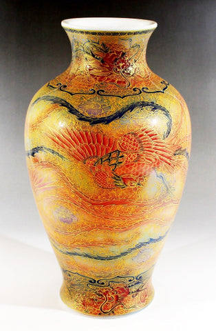 Fujii Kinsai Arita Japan - Yurisai Kinran Phoenix  vase 30.70 cm (Superlative Collection) - Free Shipping