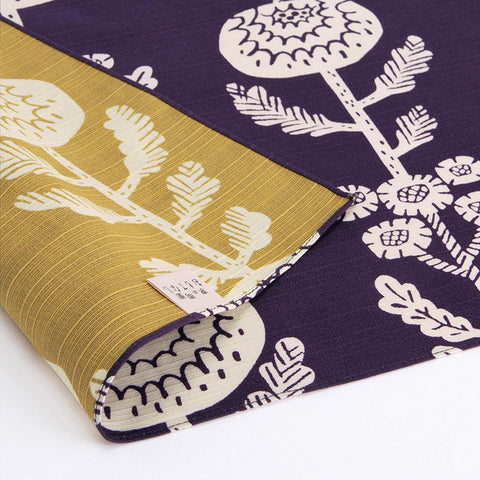 Omotenashi -  Double-Sided Dyeing Kiku (Chrysanthemum) Deep Purple - Furoshiki (Japanese Wrapping Cloth)