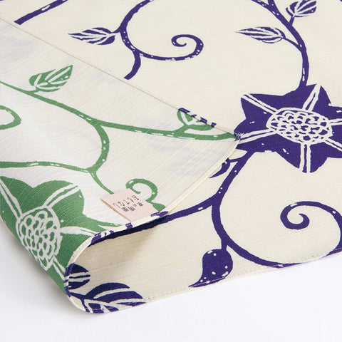 Omotenashi -  Double-Sided Dyeing Bara Tessen Green/Blue - Furoshiki (Japanese Wrapping Cloth)