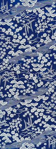 Wafuka -  Sho Chiku Bai  Blue (The dyed Tenugui) - Japanese traditional Tenugui