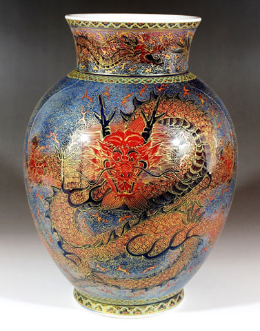 Fujii Kinsai Arita Japan - Yurisai Kinran Rise Dragon Ornamental vase 24.10 cm (Superlative Collection) - Free Shipping