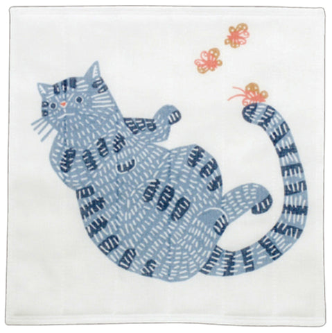 Kata Kata - Neko (Cat)  Blue - Nanae Fukin (Kitchen towels)   30 x 30 cm
