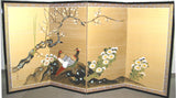 Miyake Eisai - Japanese Traditional Hand Paint Byobu (Gold Silk Folding Screen) - X129 - Free Shipping