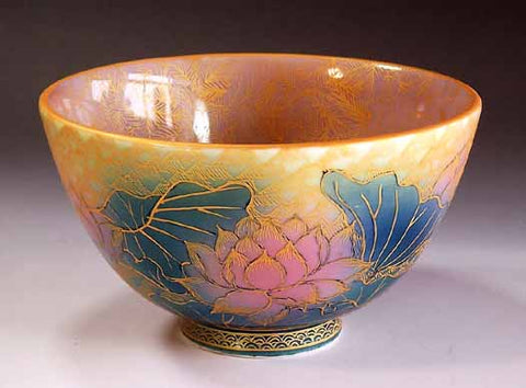 Fujii Kinsai Arita Japan - Yurisai Kinran Lotus flower Tea cup for Tea ceremony (Superlative Collection) - Free Shipping