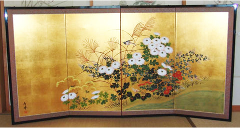 Japanese Traditional Hand Paint Byobu (Gold Leaf Folding Screen) - T 18 - Free Shipping