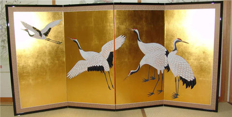 Japanese Traditional Hand Paint Byobu (Gold Leaf Folding Screen) - T32 - Free Shipping