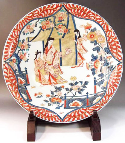 Fujii Kinsai Arita Japan - Reproduced Koimari Somenishiki Kinsai Karakusa wari Genroku beauty Ornamental plate 45.00 cm - Free Shipping