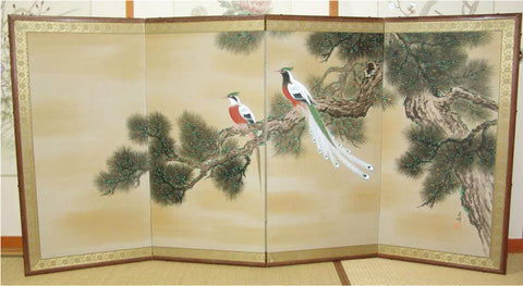 Japanese Traditional Hand Paint Byobu (Silk Folding Screen) - T 20 - Free Shipping