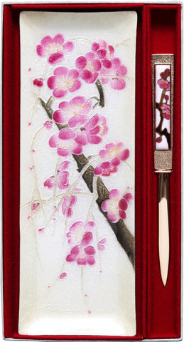 Saikosha - #022-03 Pen tray & Paper knife Plum - Free Shipping