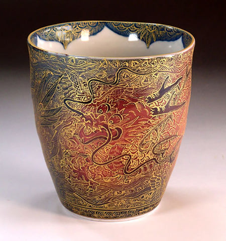 Fujii Kinsai Arita Japan - Yurisai Kinran  Japanese Tea cup (Unomi) Rise dragon (Superlative Collection) - Free Shipping